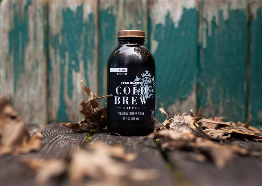 black and white Cold Brew coffee bottle